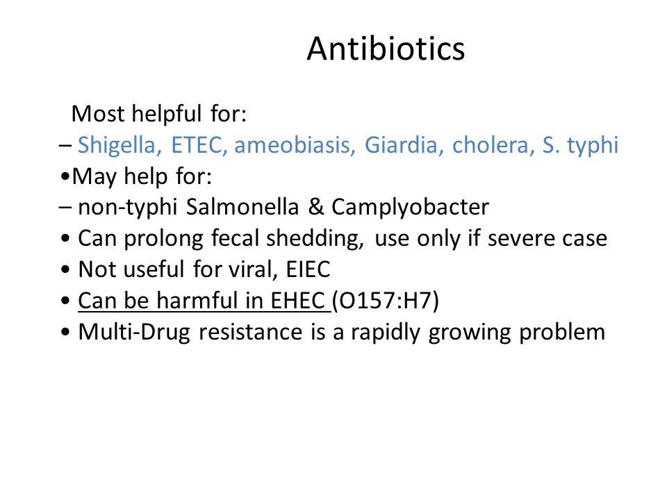 Antibiotics – Shigella, ETEC, ameobiasis, Giardia, cholera, S. typhi