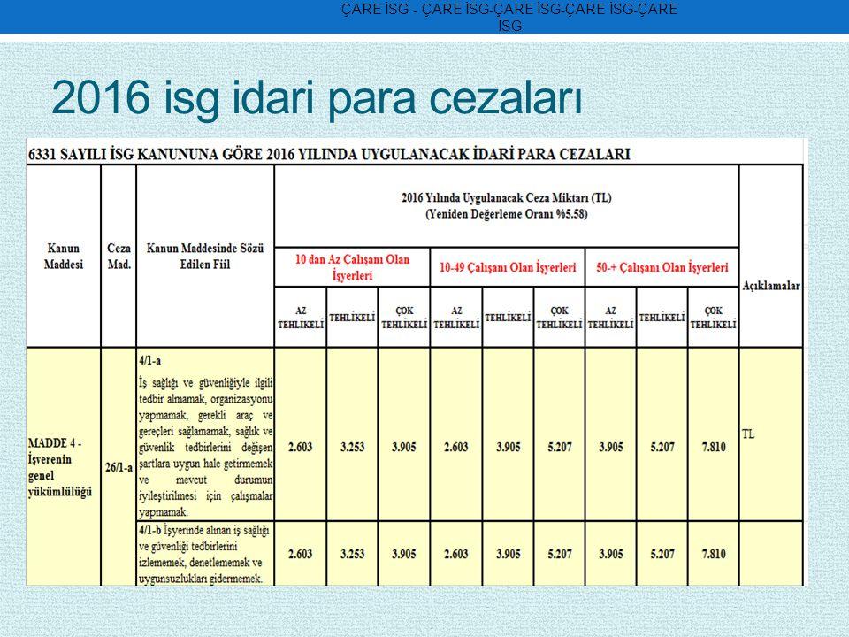 2016 isg idari para cezaları