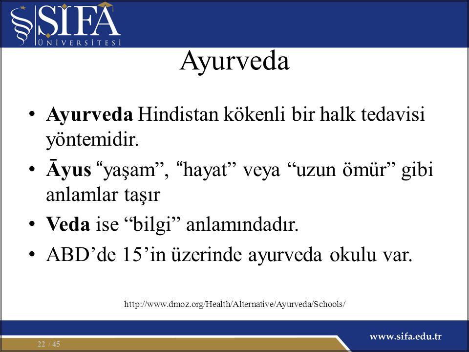 Ayurveda Ayurveda Hindistan kökenli bir halk tedavisi yöntemidir.