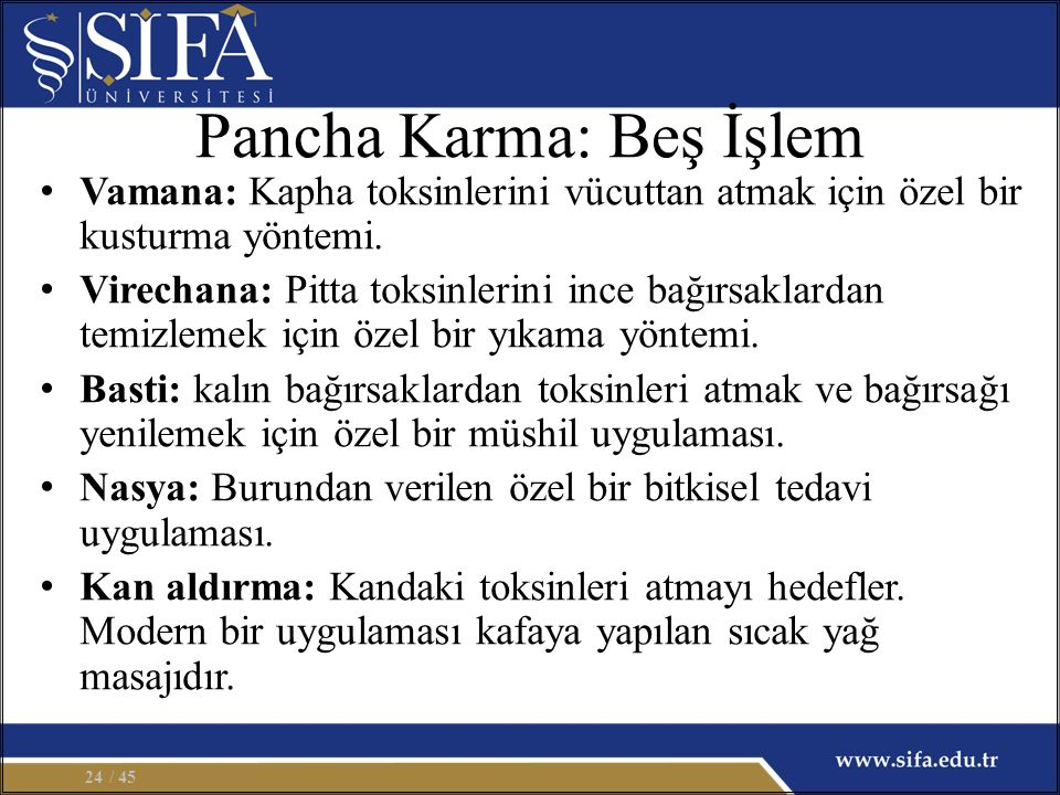 Pancha Karma: Beş İşlem