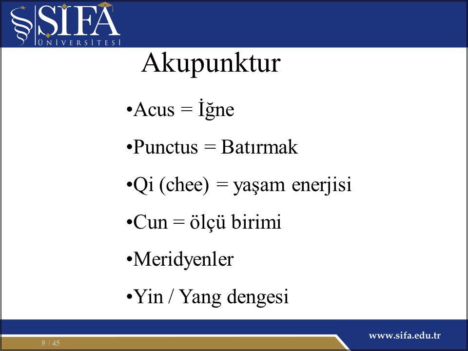 Akupunktur Acus = İğne Punctus = Batırmak Qi (chee) = yaşam enerjisi