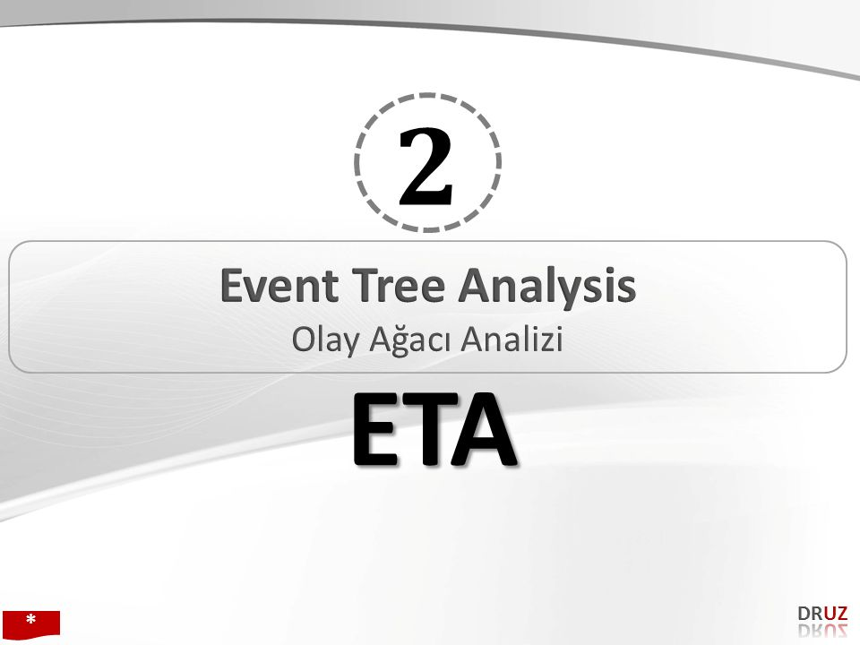 2 Event Tree Analysis Olay Ağacı Analizi ETA DRUZ * 171 171