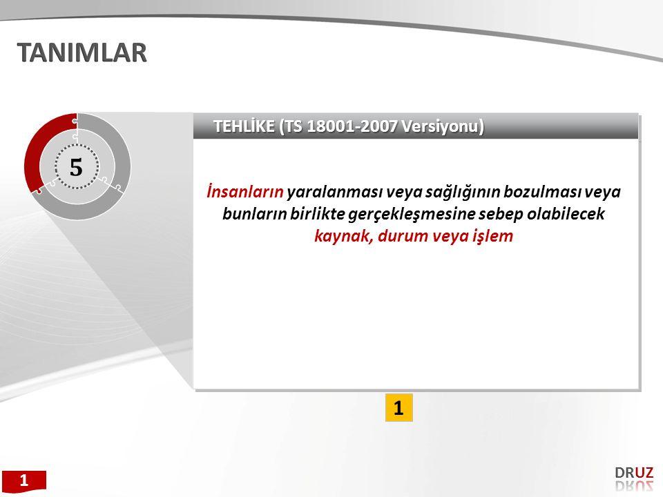 TANIMLAR 5 1 TEHLİKE (TS 18001-2007 Versiyonu)