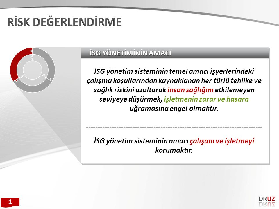 İSG yönetim sisteminin amacı çalışanı ve işletmeyi korumaktır.