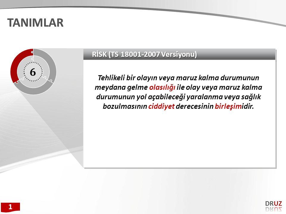 TANIMLAR 6 RİSK (TS 18001-2007 Versiyonu)