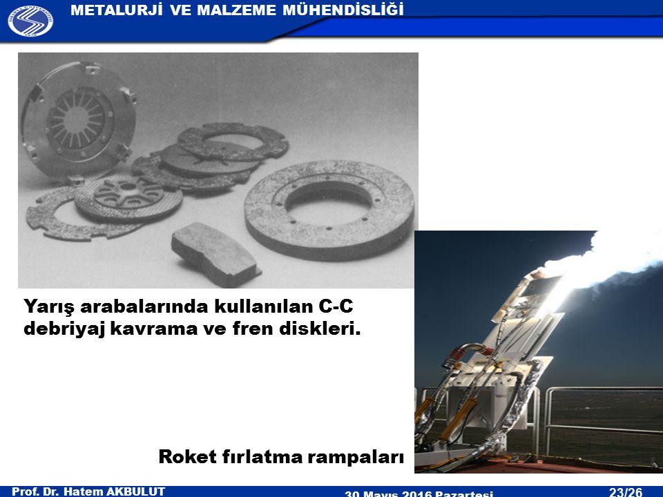 Yarış arabalarında kullanılan C-C debriyaj kavrama ve fren diskleri.
