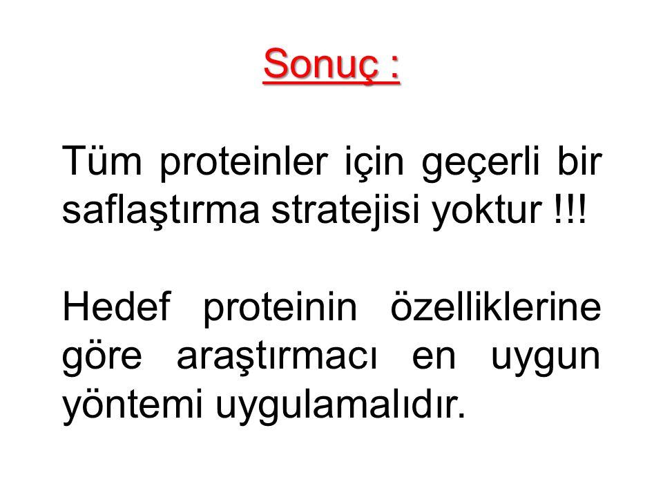 Sonuç : Tüm proteinler için geçerli bir saflaştırma stratejisi yoktur !!!