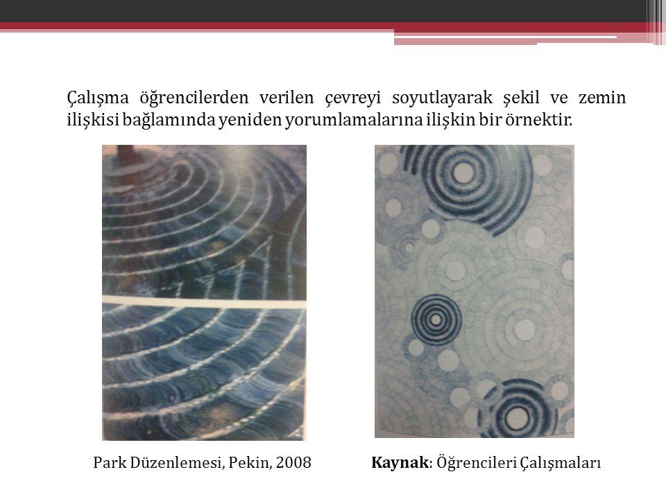 Çalışma öğrencilerden verilen çevreyi soyutlayarak şekil ve zemin ilişkisi bağlamında yeniden yorumlamalarına ilişkin bir örnektir.