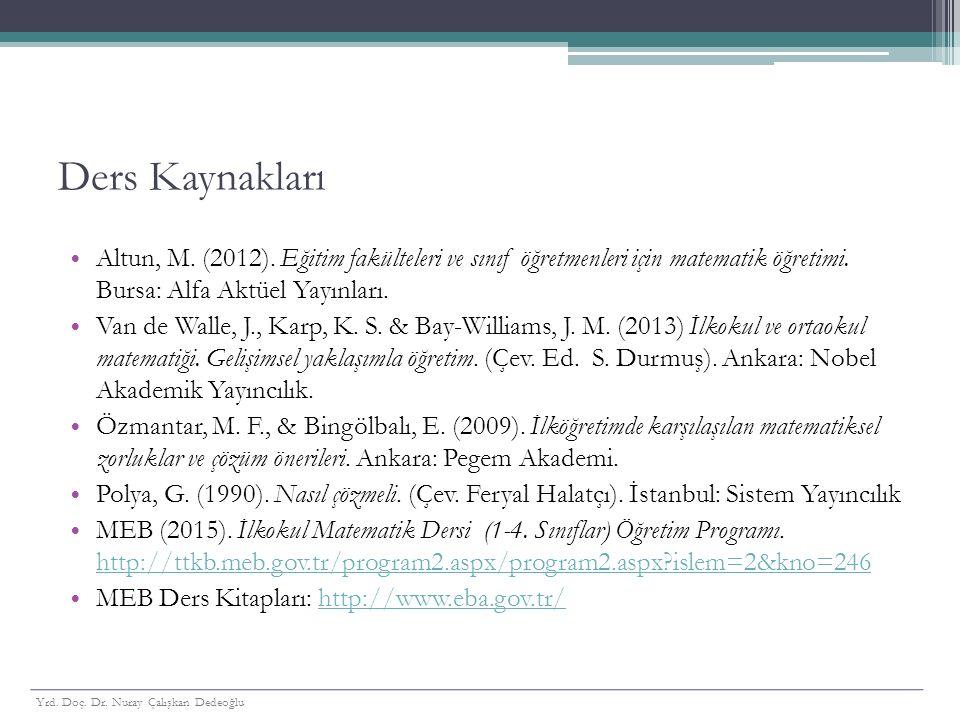 Ders Kaynakları Altun, M. (2012). Eğitim fakülteleri ve sınıf öğretmenleri için matematik öğretimi. Bursa: Alfa Aktüel Yayınları.
