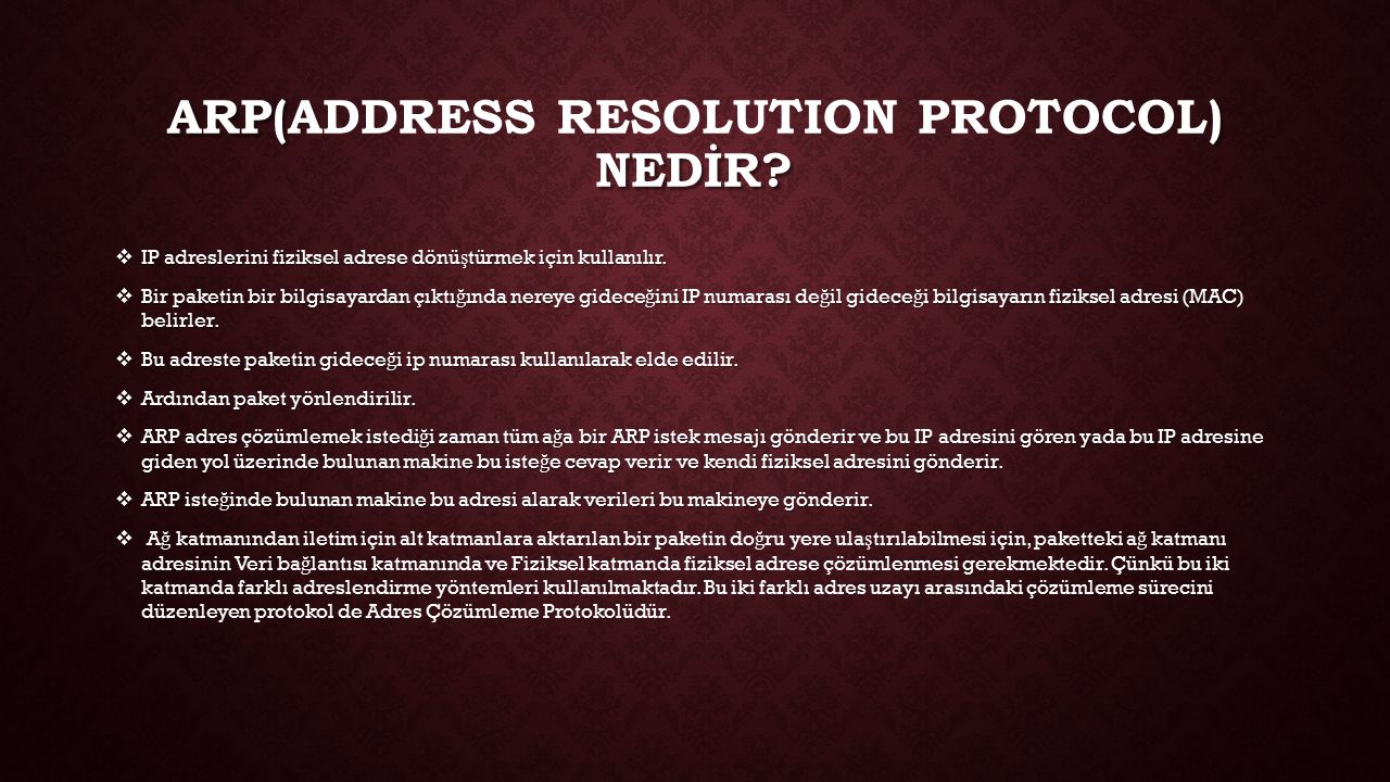 Arp(Address Resolution Protocol) nedİr