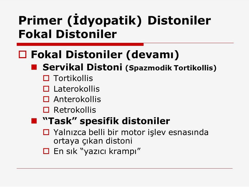 Primer (İdyopatik) Distoniler Fokal Distoniler