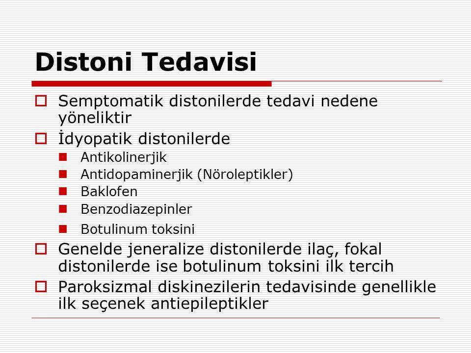 Distoni Tedavisi Semptomatik distonilerde tedavi nedene yöneliktir