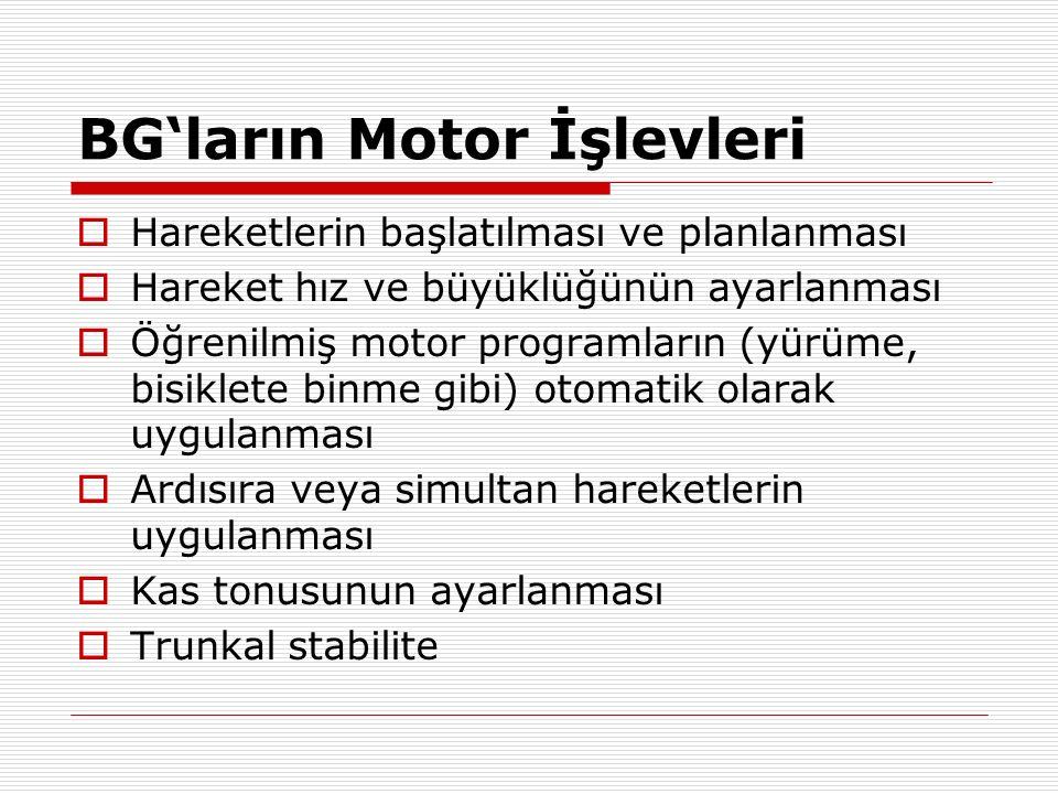 BG'ların Motor İşlevleri