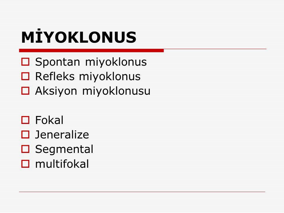 MİYOKLONUS Spontan miyoklonus Refleks miyoklonus Aksiyon miyoklonusu