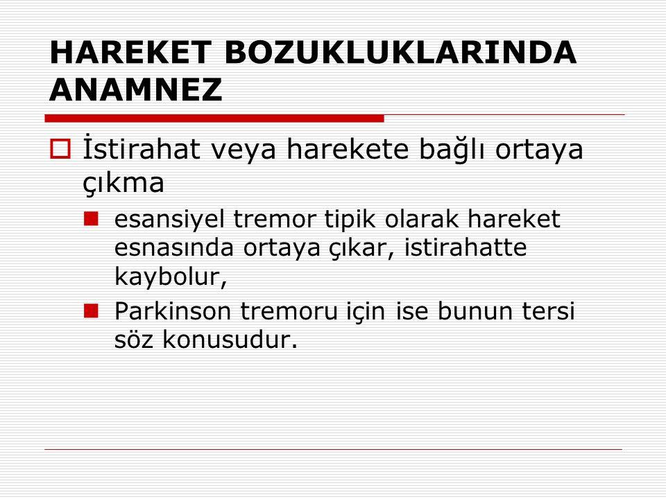 HAREKET BOZUKLUKLARINDA ANAMNEZ