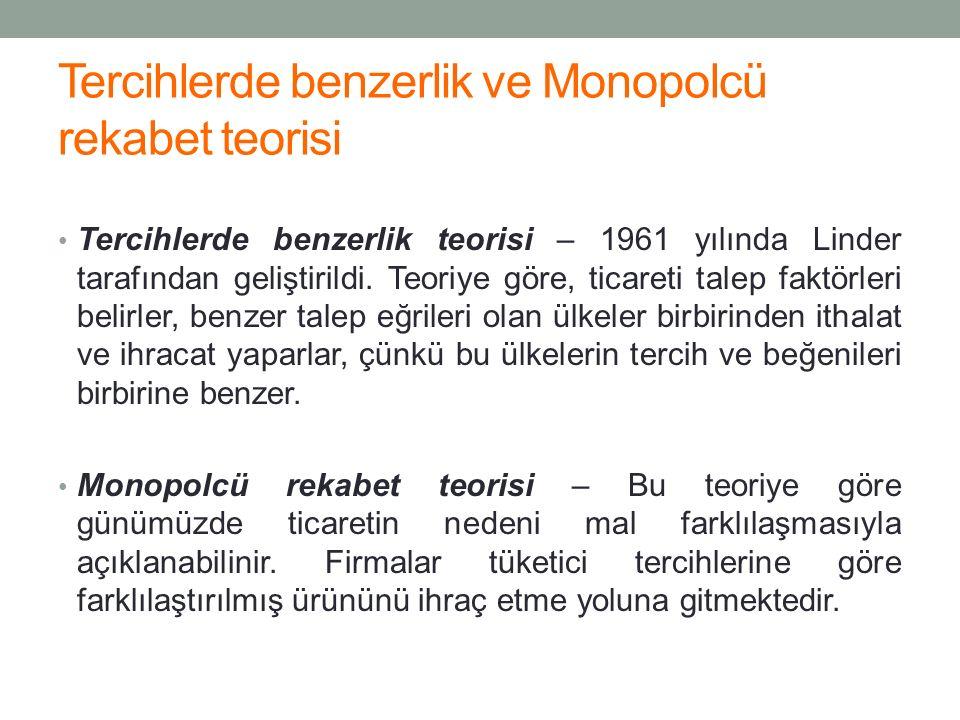 Tercihlerde benzerlik ve Monopolcü rekabet teorisi