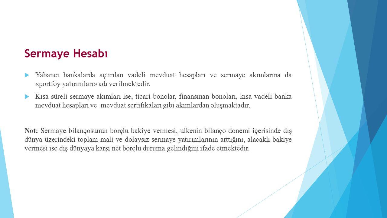 Sermaye Hesabı Yabancı bankalarda açtırılan vadeli mevduat hesapları ve sermaye akımlarına da «portföy yatırımları» adı verilmektedir.