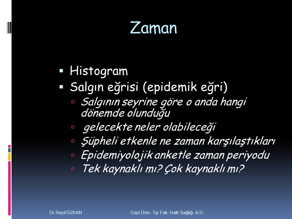 Zaman Histogram Salgın eğrisi (epidemik eğri)