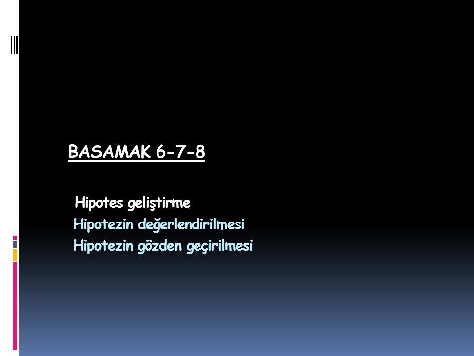 BASAMAK 6-7-8 Hipotes geliştirme Hipotezin değerlendirilmesi Hipotezin gözden geçirilmesi