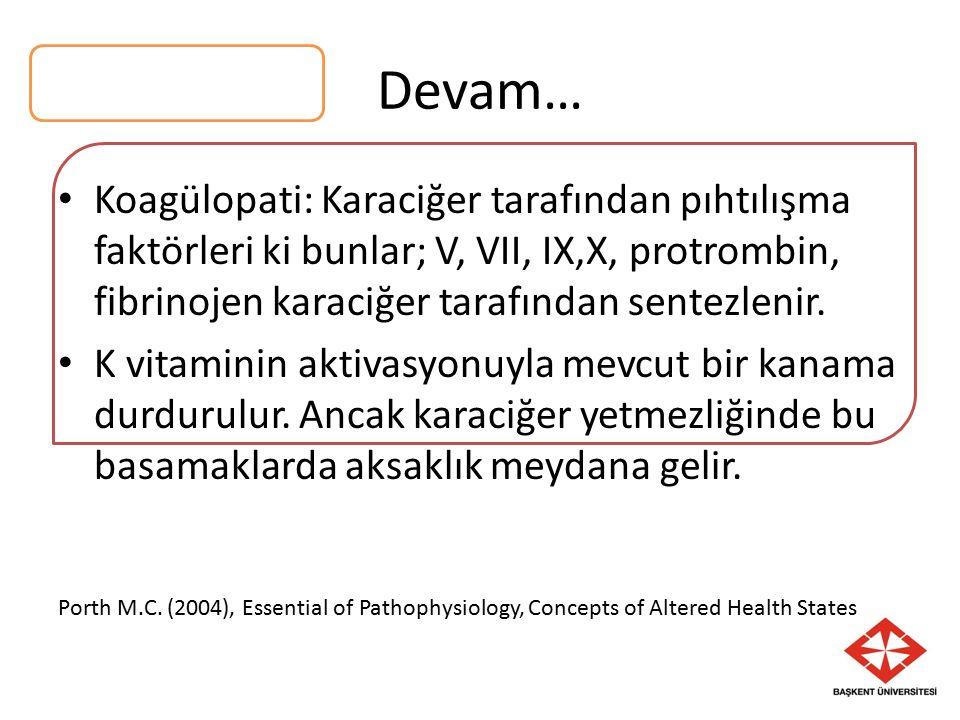 Devam… Koagülopati: Karaciğer tarafından pıhtılışma faktörleri ki bunlar; V, VII, IX,X, protrombin, fibrinojen karaciğer tarafından sentezlenir.
