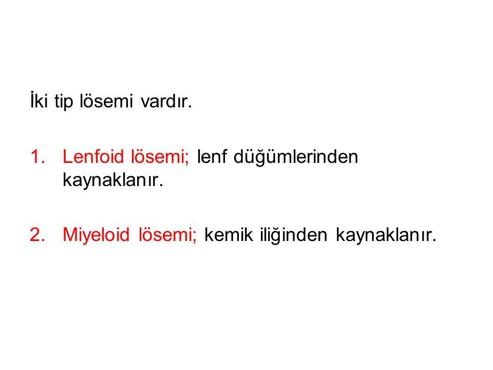 İki tip lösemi vardır. Lenfoid lösemi; lenf düğümlerinden kaynaklanır.