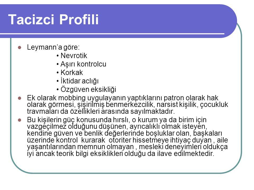 Tacizci Profili Leymann'a göre: • Nevrotik • Aşırı kontrolcu • Korkak