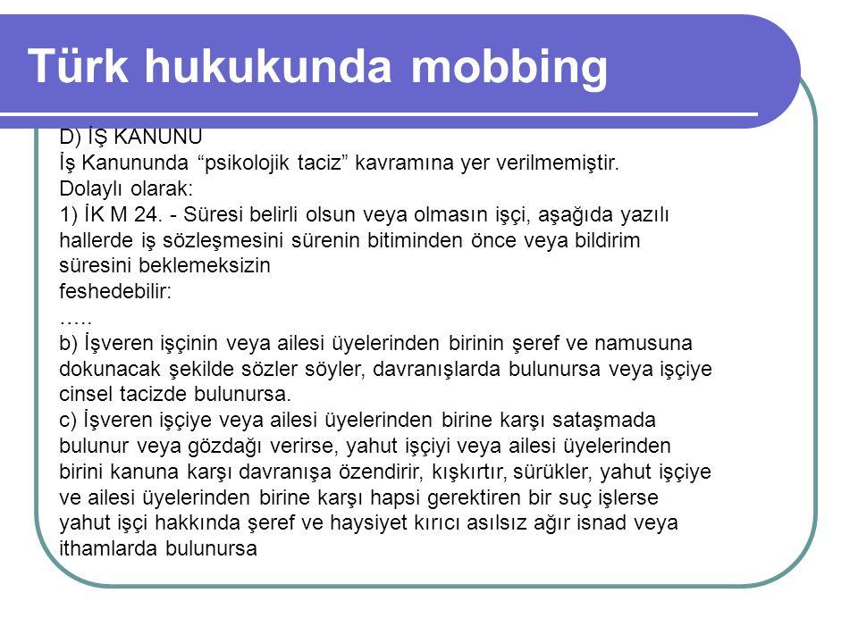 Türk hukukunda mobbing