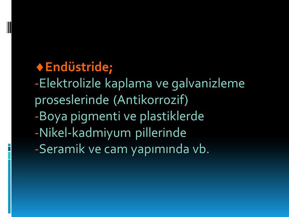 Endüstride; -Elektrolizle kaplama ve galvanizleme proseslerinde (Antikorrozif) -Boya pigmenti ve plastiklerde.
