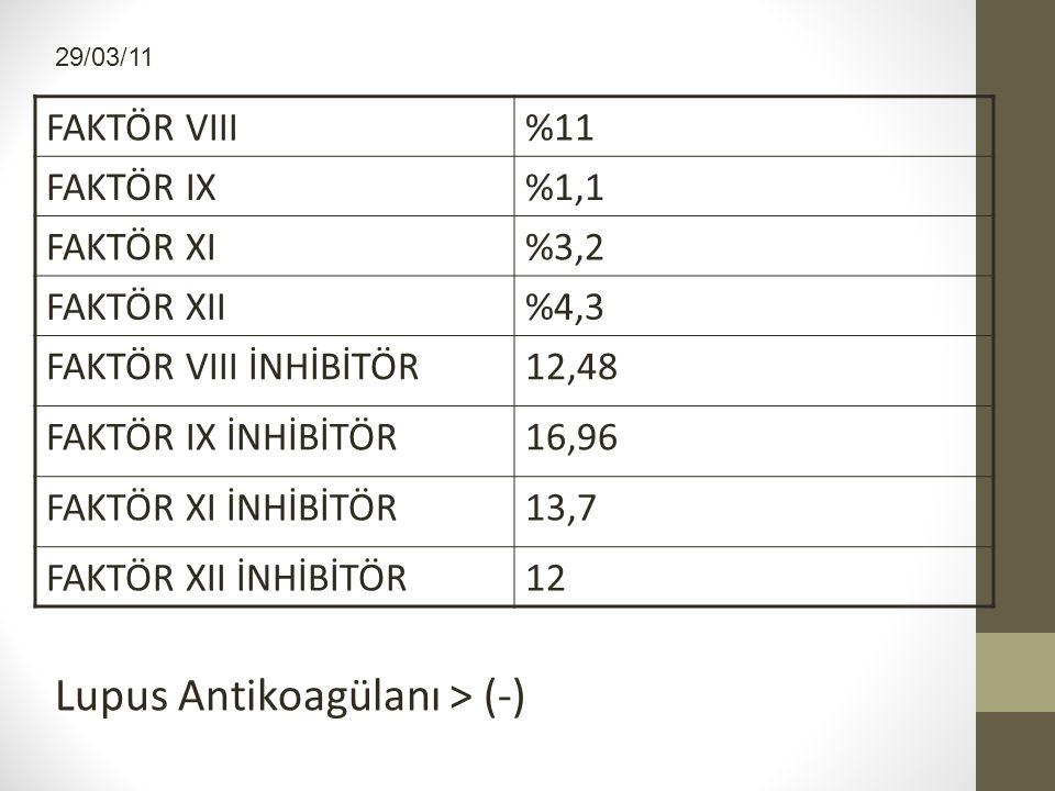 Lupus Antikoagülanı > (-)