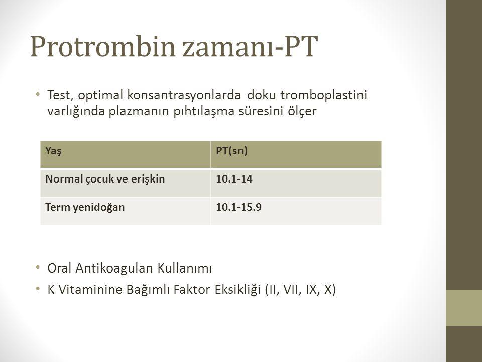 Protrombin zamanı-PT Test, optimal konsantrasyonlarda doku tromboplastini varlığında plazmanın pıhtılaşma süresini ölçer.