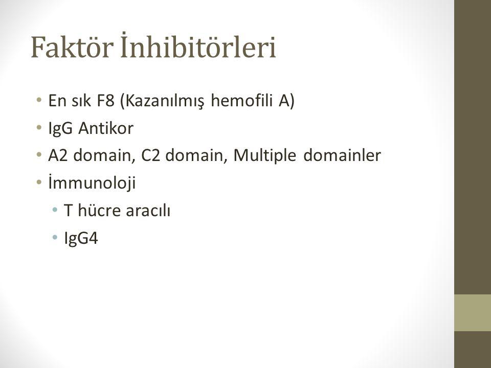 Faktör İnhibitörleri En sık F8 (Kazanılmış hemofili A) IgG Antikor