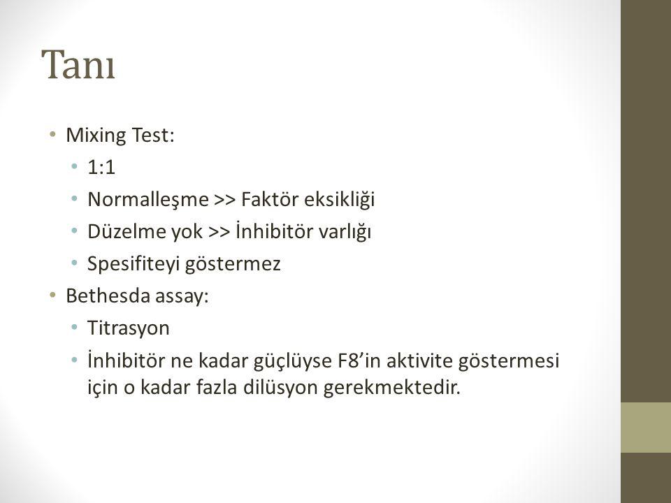Tanı Mixing Test: 1:1 Normalleşme >> Faktör eksikliği