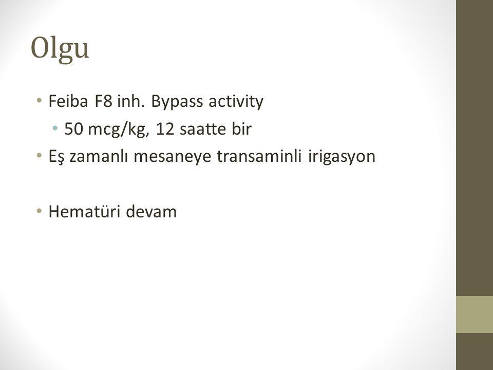 Olgu Feiba F8 inh. Bypass activity 50 mcg/kg, 12 saatte bir