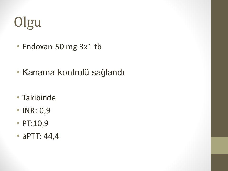 Olgu Endoxan 50 mg 3x1 tb Kanama kontrolü sağlandı Takibinde INR: 0,9