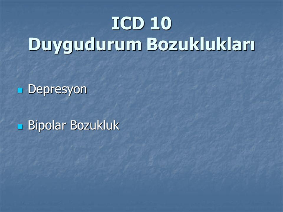 ICD 10 Duygudurum Bozuklukları