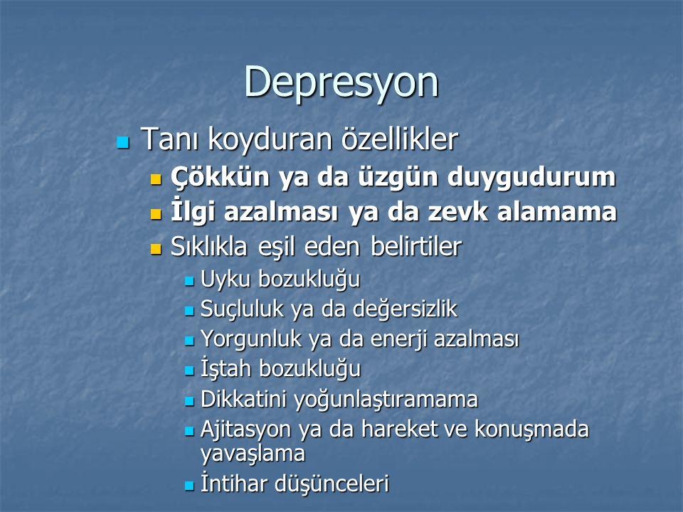 Depresyon Tanı koyduran özellikler Çökkün ya da üzgün duygudurum