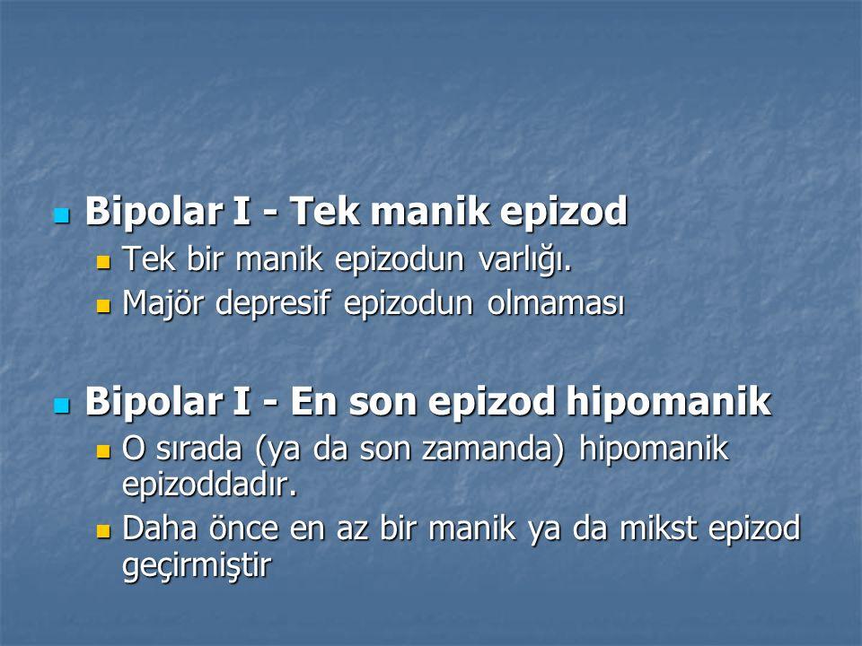 Bipolar I - Tek manik epizod