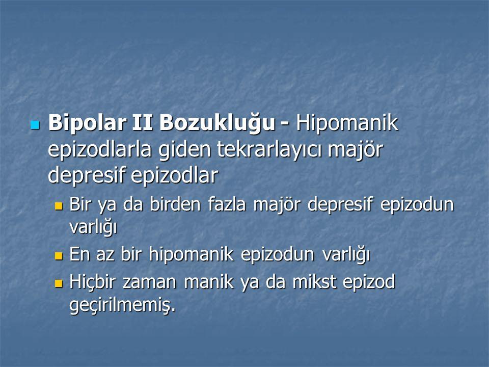 Bipolar II Bozukluğu - Hipomanik epizodlarla giden tekrarlayıcı majör depresif epizodlar