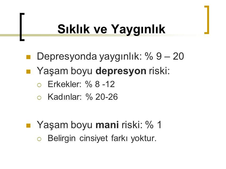 Sıklık ve Yaygınlık Depresyonda yaygınlık: % 9 – 20