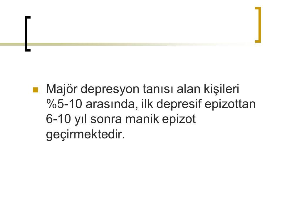 Majör depresyon tanısı alan kişileri %5-10 arasında, ilk depresif epizottan 6-10 yıl sonra manik epizot geçirmektedir.