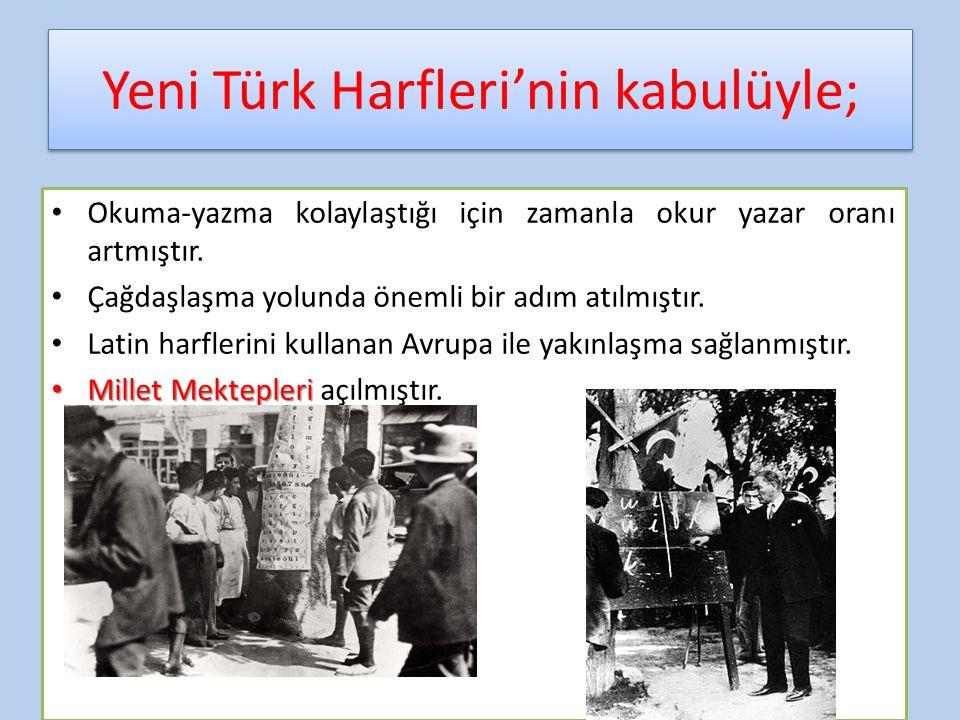 Yeni Türk Harfleri'nin kabulüyle;