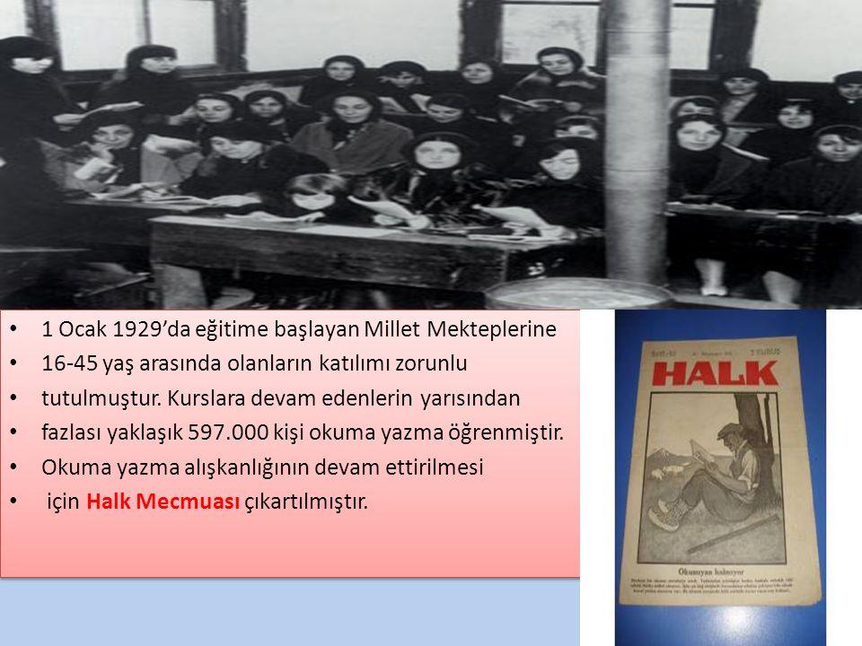 1 Ocak 1929'da eğitime başlayan Millet Mekteplerine