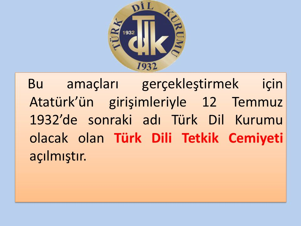 Bu amaçları gerçekleştirmek için Atatürk'ün girişimleriyle 12 Temmuz 1932'de sonraki adı Türk Dil Kurumu olacak olan Türk Dili Tetkik Cemiyeti açılmıştır.