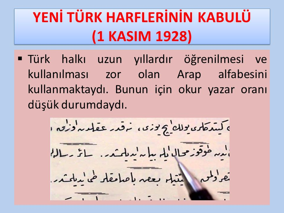 YENİ TÜRK HARFLERİNİN KABULÜ (1 KASIM 1928)