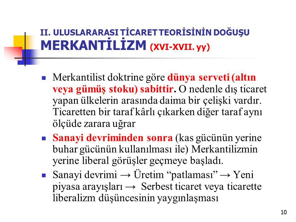 II. ULUSLARARASI TİCARET TEORİSİNİN DOĞUŞU MERKANTİLİZM (XVI-XVII. yy)