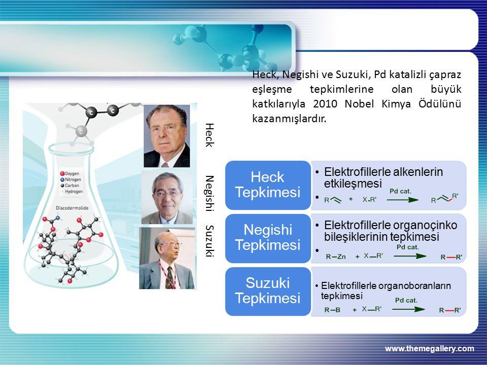 Heck, Negishi ve Suzuki, Pd katalizli çapraz eşleşme tepkimlerine olan büyük katkılarıyla 2010 Nobel Kimya Ödülünü kazanmışlardır.