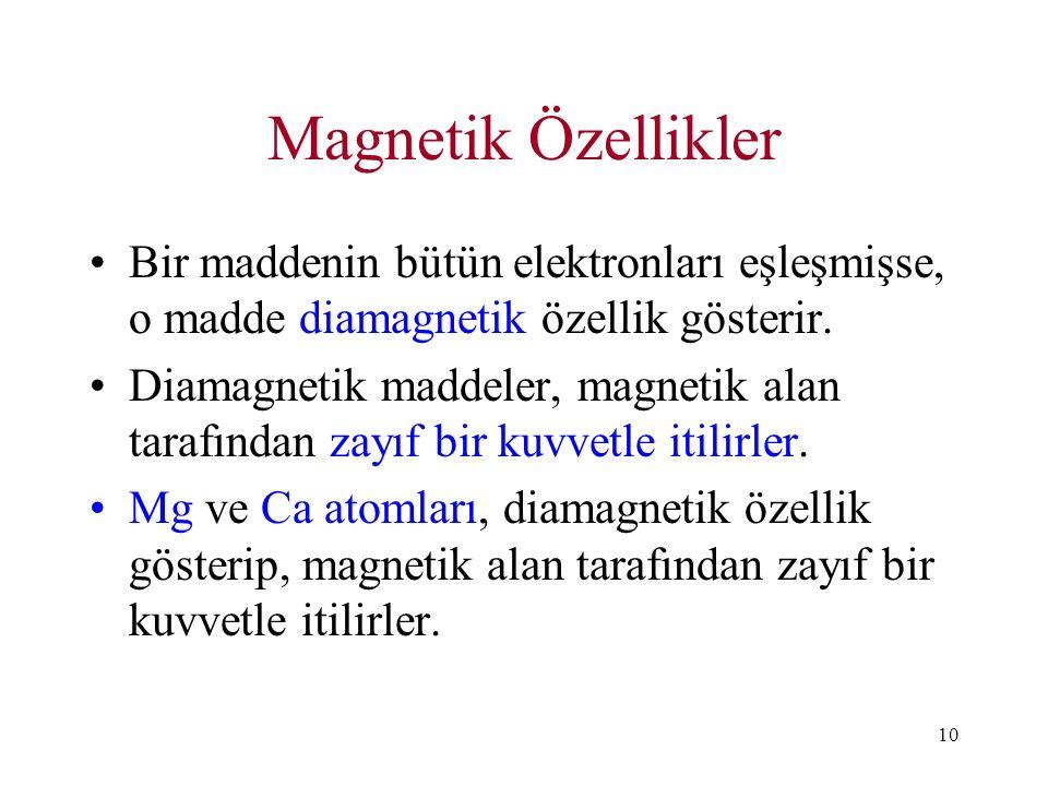 Magnetik Özellikler Bir maddenin bütün elektronları eşleşmişse, o madde diamagnetik özellik gösterir.
