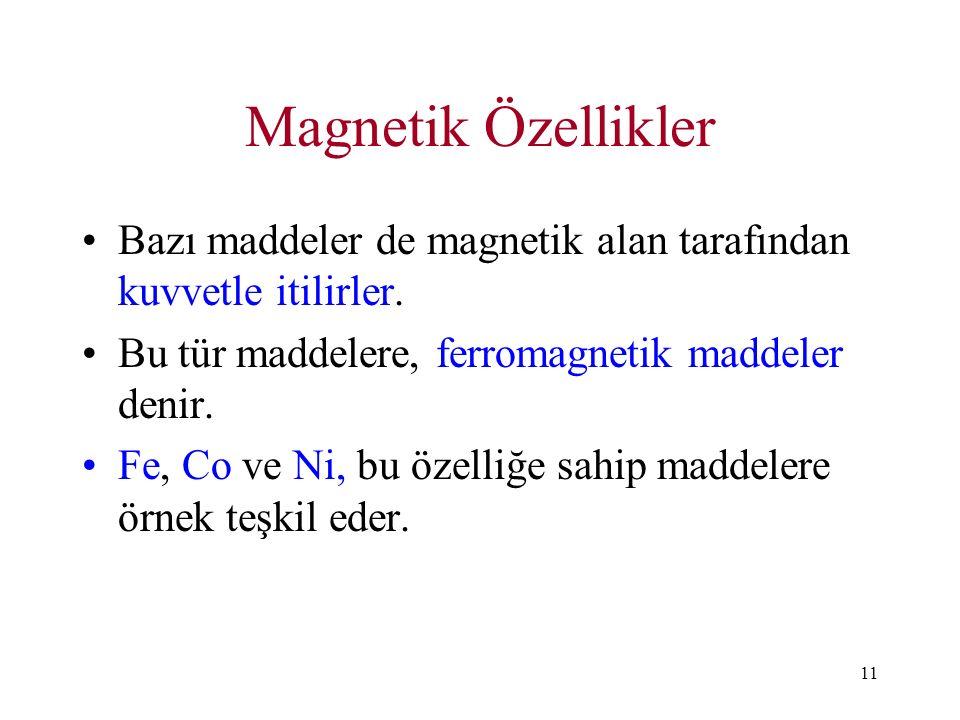Magnetik Özellikler Bazı maddeler de magnetik alan tarafından kuvvetle itilirler. Bu tür maddelere, ferromagnetik maddeler denir.