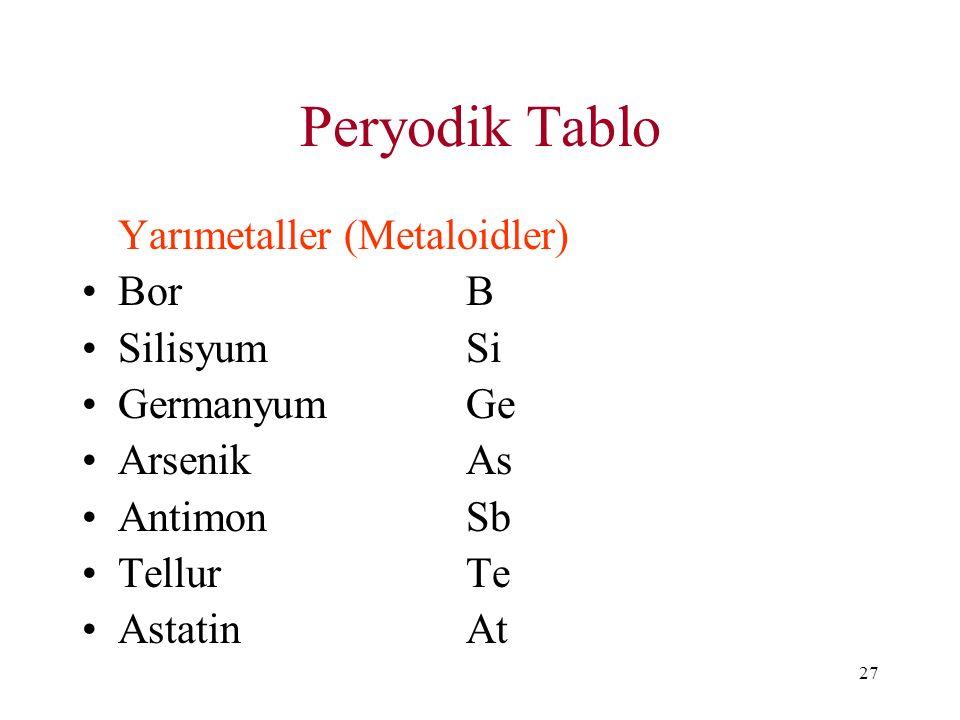 Peryodik Tablo Yarımetaller (Metaloidler) Bor B Silisyum Si