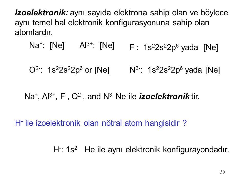 Izoelektronik: aynı sayıda elektrona sahip olan ve böylece aynı temel hal elektronik konfigurasyonuna sahip olan atomlardır.